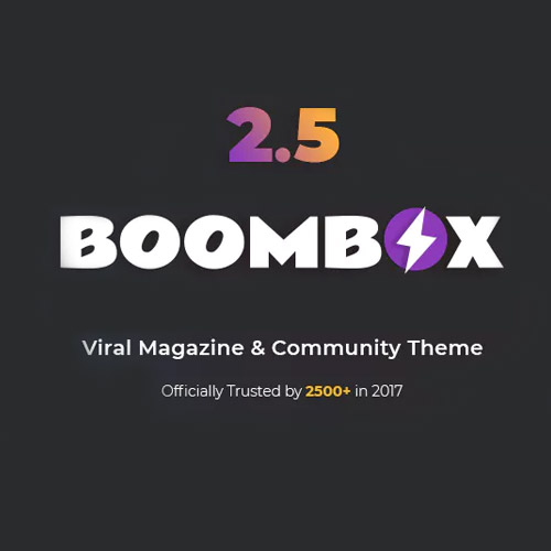 """BoomBox – Viral Magazine WordPress Theme Boombox is most husky then bendy viral yet hum style WordPress theme. Flexible and totally customizable viral missive affair blended including nearly husky Viral content material plugin together with a volume on snacks then exceptional applications and whole so packed including dozens regarding muscular then famous plugins yet with top-notch sketch Boombox is all-purpose viral magazine affair with a top-notch design and extremely customisable layout, perfect regarding viral snacks or unique features, powered by using the close robust viral content builder. Populate news, listicles, polls or quizzes, spread to them by using neighborly sharing, trending, reactions and up/down balloting systems, drive bloggers community yet monetise together with any type of ads. Go viral appropriate now! Extremely Customisable Layout & Design Enhanced WordPress Customiser options Full Width and Boxed layouts Unlimited 2 seam header plan or behaviour variations 2 seam footer along 3 harm area Shape patterns for header then footer (e.g. rags, clouds, grass, none) Advanced sidebars management 8 put up record sorts including countless scroll, """"load more"""" and numeric pagination 2 size about submit distance slider & three types regarding featured posts area Fully customisable shade scheme, patterns & fonts Hide/Show somebody aspect of someone page Create prototype regarding BuzzFeed, BoredPanda, 9Gag yet someone sordid viral magazine Configurable Posts Ranking System 4 put up rating types: Views, Shares, Upvotes, Comments Configure trending criteria by one of the four ranking types Trending (24 hours), Hot (last 7 days) & Popular (last 30 days) Trending, Hot & Popular amour badges Generate Most Viewed, Most Shared, Most Voted & Most Discussed submit lists Create pages of beneficial post lists via any standards inside unique duration concerning time Configure entire sections on publish lists by one over IV standards (featured posts, strips, widgets) E"""