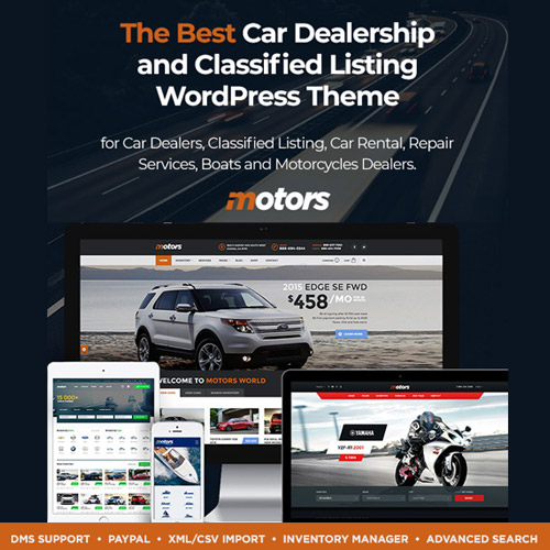 Motors – Automotive, Car Dealership, Car Rental, Auto, Classified Ads, Listing WordPress Theme